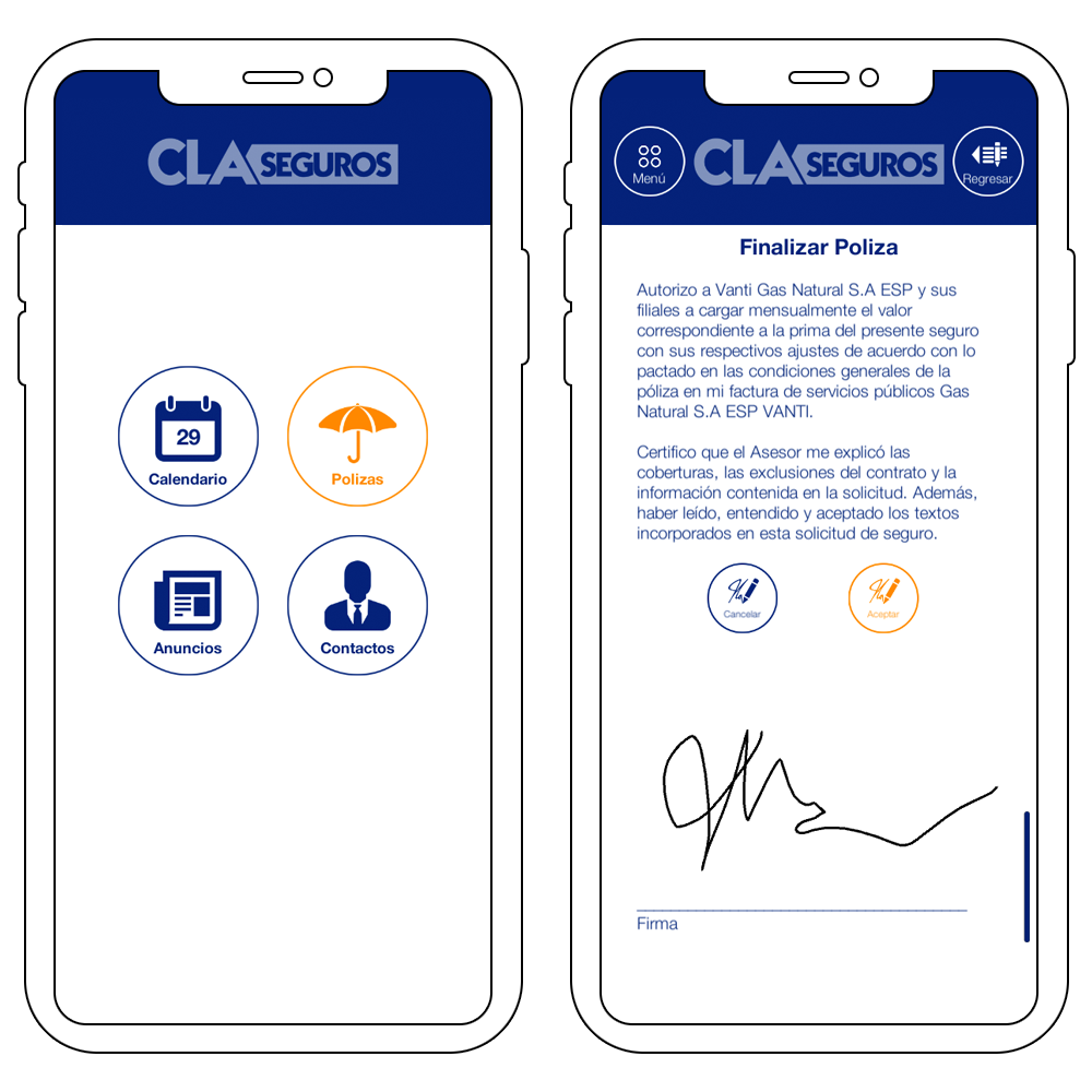 Two smartphones showing the CLA Seguros App