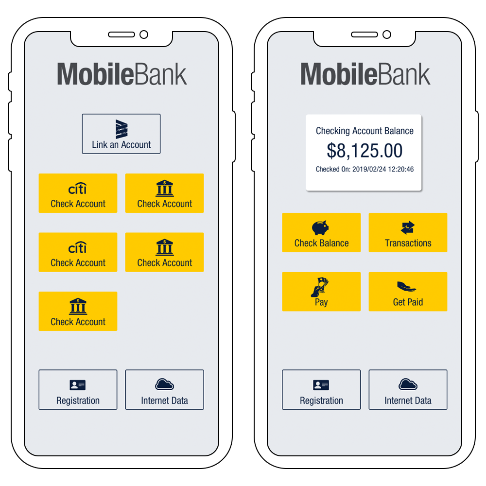 Smartphones showing the Mobile Bank App